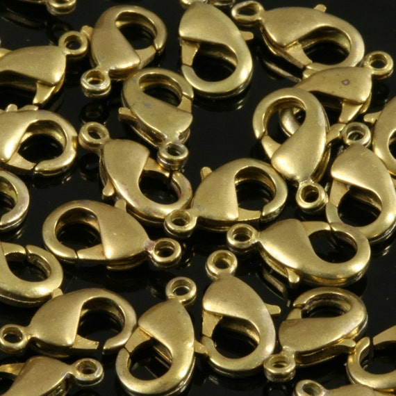 100 pcs raw brass solid brass lobster claw clasps 15 x 8 mm CL20 503 303