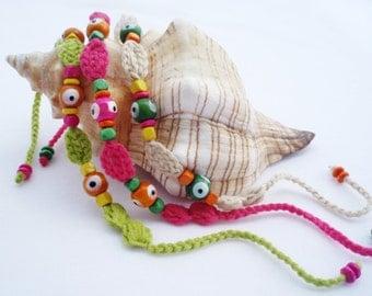 Boho bracelet set Woven friendship bracelet Multicolor bracelet Crochet bracelet Original gifts Beach jewelry  Hippie bracelet