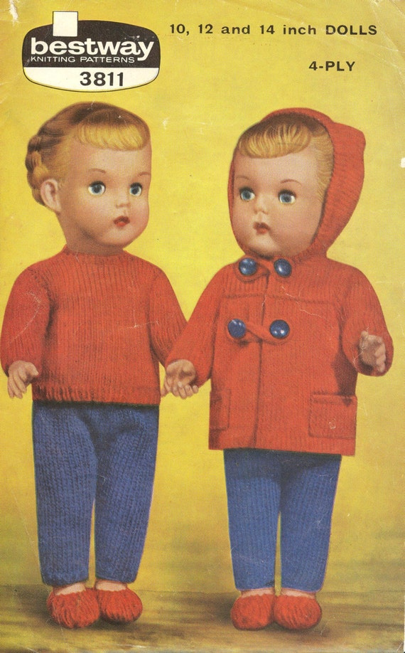 Vintage Knitting Patterns For Dolls Clothes : Bestway 3811 dolls duffle coat set for 10 12 and 14