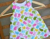Pinafore dress for girls, summer dress, colorful birds