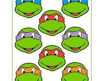 Instant Download Turtles- for Balloon, Stickers, Lollipop, Favor bags, Cups - Ninja Birthday party - PRINTABLE