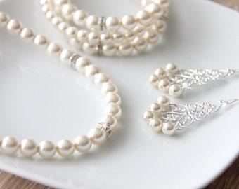 Bridal Jewelry Set, Ivory Swarovski Pearl Bridal Jewelry Set, Wedding Jewelry, art. 179 Impresa