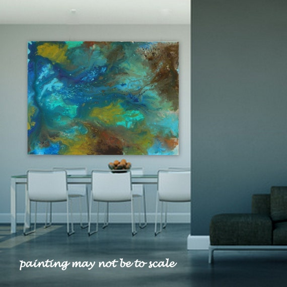 LargeAbstract Painting by Marcy Chapman Blue, Turquoise, Yellow, Green, Brown, Teal, Light Blue