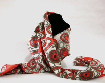 Algorithm Patterned Silk Scarf APS_001Red