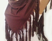 ON SALE - Brown  Scarf - Jersey Scarf - Bead Scarf - Fringe Scarf - Shawl Scarf - Woman Fashion - Pancho