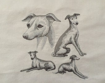 Greyhound ~ Dog Sketch Quilt Block