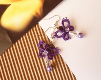 Tatted Earrings Purple Butterflies
