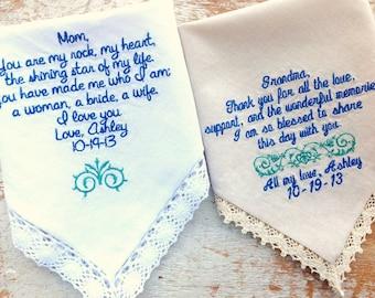 Embroidered Wedding Handkerchief Monogrammed custom heirloom weddings 2 mom grandma
