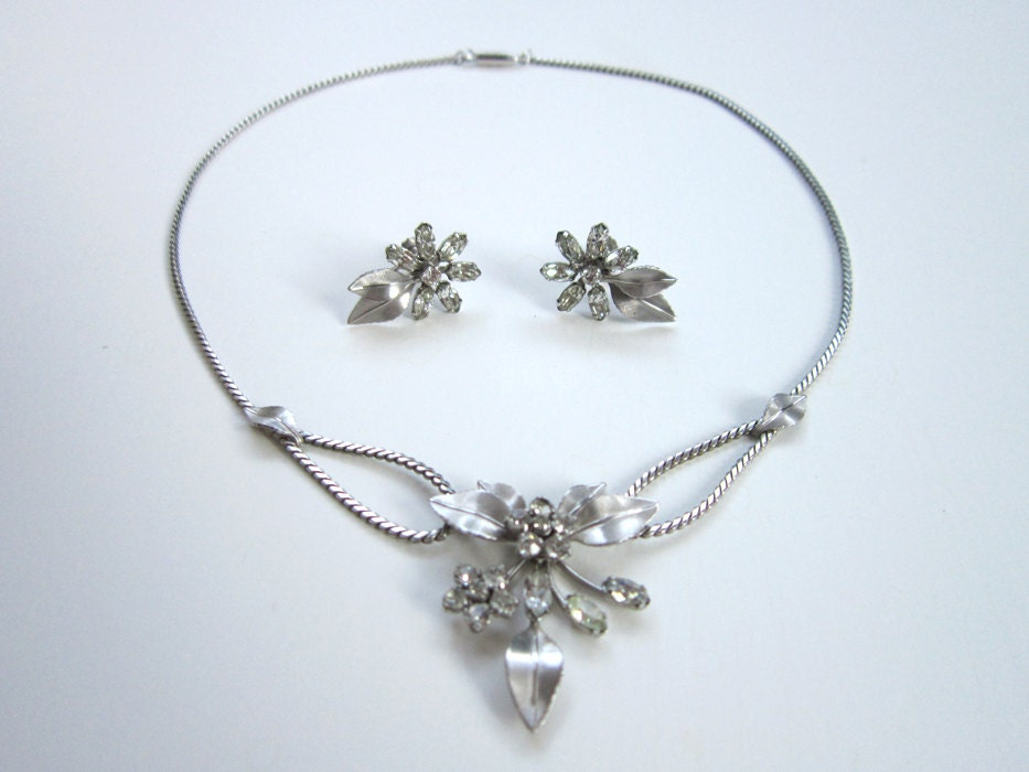 krementz rhinestone demi parure necklace and earrings set in