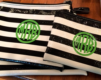 Set of Three Zippered Pouches with Monogram on each pouch