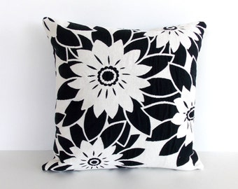 Black & White Throw Pillow Cover - 16 x 16 inches - White and Black Floral Accent Pillow
