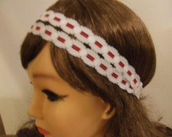 Red & White Lace Headband, Stretchy Headband, Double Strand Headband. Bohemian Headband