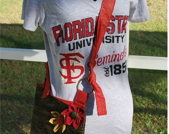 FSU Florida State University Seminoles Noles Gold Garnet Black Messenger Cross Body Bag Purse