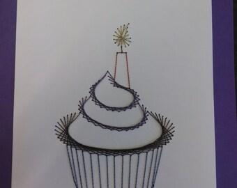 Hand Stitched Birthday Cupcake Greeting Card