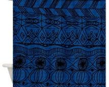 Black and Blue Shower Curtain-unique blue black tribal pattern masculine winter home dorm guys decor