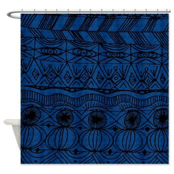 Items Similar To Black And Blue Shower Curtain Unique Blue