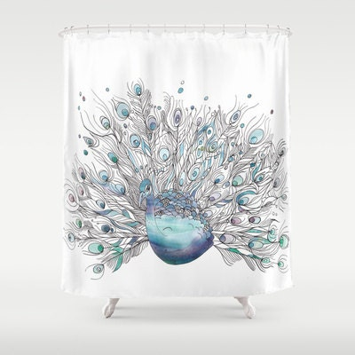 artistic peacock shower curtain peacock watercolor art