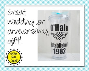 Personalized Acrylic Cup Md - Anniversary Gift or Wedding Gift - Household Established Year BPA FREE- 16 oz Acrylic Cup Screw-On Lid