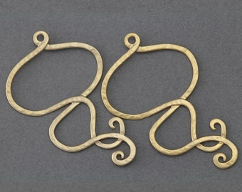 Haze Brass Pendant . Jewelry Craft Supply . 16K Matte Gold Plated over Brass  / 2 Pcs - AC148-MG