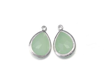 Light Mint Glass Pendant . Jewelry Craft Supplies . Polished Original Rhodium Plated over Brass  / 2 Pcs - AG016-PR-LM