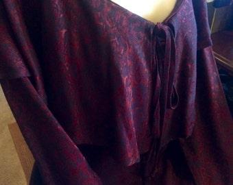 Vintage Carol Little Burgundy Ruffle Dress Size 12