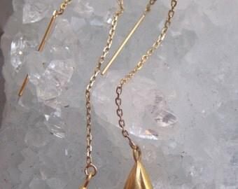14k Gold Threader Lily Earrings
