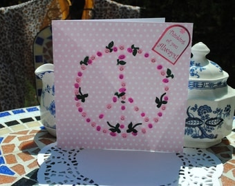 CLEARANCE HALF PRICE  3D Peace sign  always thinking of you  pink polka dot card