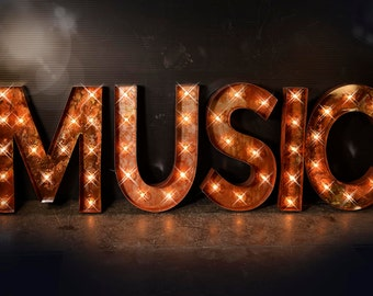 music marquee sign music lighted metal marquee sign carnival marquee letter music marquee - Lighted Marquee Letters