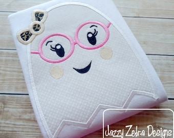 Girl Ghost wearing Eyeglasses and Bow Appliqué embroidery Design - Halloween Appliqué Design - ghost Appliqué Design - girl Applique Design
