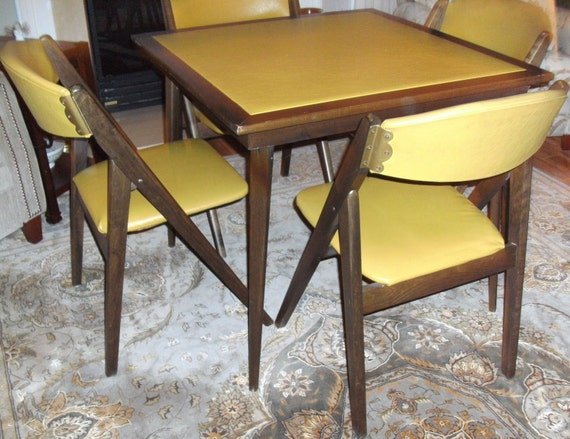 vintage mcm stakmore folding table with 4 a frame chairs