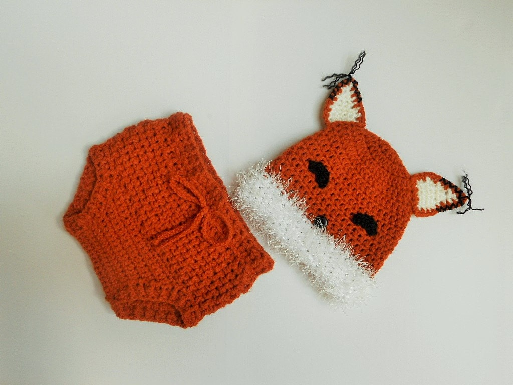 Crochet Fox Hat : Baby fox hat and diaper cover Crochet fox hat by AdrisLittleCuties