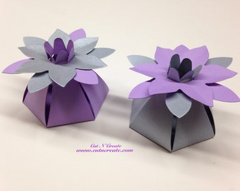 Silver Wedding Favor Boxes Purple Wedding Favor Boxes Flower Favor Boxes Flower Favors Flower Favours Silver And Purple Wedding