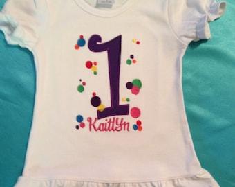 Fun and colorful polka dot birthday shirt/bodysuit