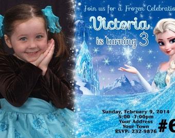 Disney Frozen Invitation with Photo Printable Digital file Birthday Party Invitation