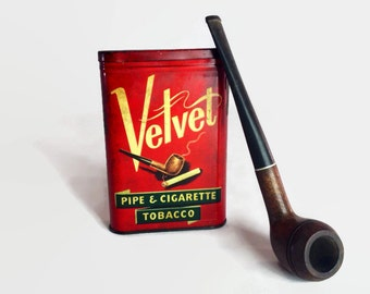 Vintage Red Velvet Tobacco Tin
