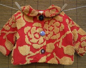 Size 6 Months Vintage Chenille Jacket - Rare Vintage Red Chenille Girls Jacket - Vintage Chenille 6 Months Coat - Red Chenille Baby Jacket