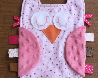 Pink and brown polka dot owl lovie with pink minky dot wings