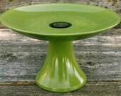 Painted Avocado Green Pedestal Cake Plate