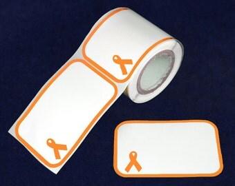 100 Orange Ribbon Name Badge Stickers - 100 Stickers (ST-03-5)