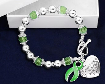 Green Ribbon Bracelet - Where There Is Love (RE-B-01-13)