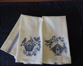 Delft Blue Birdhouse Tea Towel
