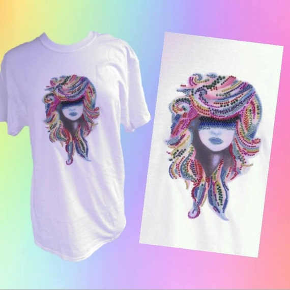 Pretty Girl Custom Made T Shirt Rhinestone Bling By
