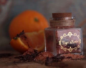 ORANGE & CHOCOLATE Flavored Sugar -Tiger's Amber,  Wedding favor, Sweet treat