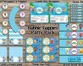Bubble Guppies Party Pack, DiY Bubble Guppies Birthday Banner Cupcake Wrapper Water Bottle Thank You Tag -Digital JPG Files INSTANT DOWNLOAD