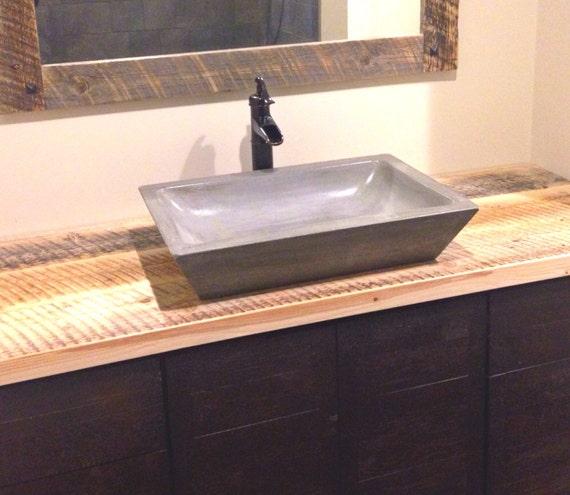 Concrete Bathroom Sink : Concrete Rectangle Bowl Vessel Bathroom Sink 16