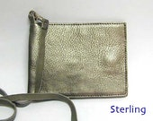 Leather Credit Card Wallet on Lanyard, Credit Card Case, Silver Leather Credit Card Holder, Leather Card Case, Silver Leather Card Case
