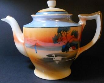 1920's  Japanese Swan on Lake Hand Painted Tea Pot
