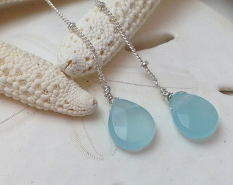 Aqua Chalcedony Lariat Necklace, Long Necklace, Silver Necklace