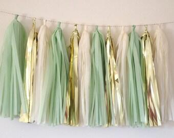 Mint Green Metallic Gold and Vanilla Tassel Garland Wedding // Decor // Baby Shower // Bachelorette // Gender Neutral // Bridal Shower