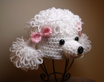 White Crocheted Poodle Hat with Pink Bows 3 months size Photo Prop